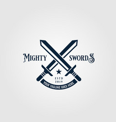 crossed mighty sword logo vintage symbol design vector image