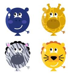 cute animal balloon faces vector image
