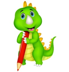 Cute dinosaur cartoon holding red pencil vector image