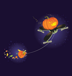cute halloween pumpkin flying on a drone vector image vector image