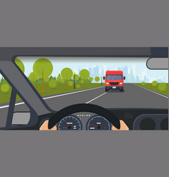 dangerous situation on road vector image