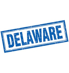 Delaware blue square grunge stamp on white vector