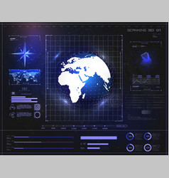 Digital hud background display holographic earth vector