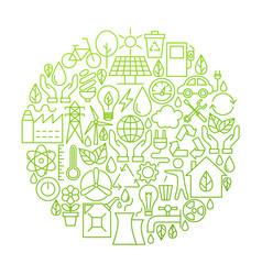 Ecology line icon circle design vector