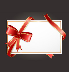 empty gift card or banner with red ribbons bow vector image