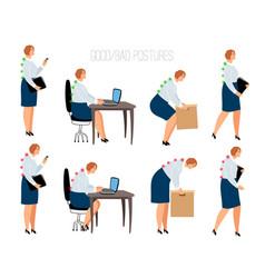 ergonomic woman postures vector image