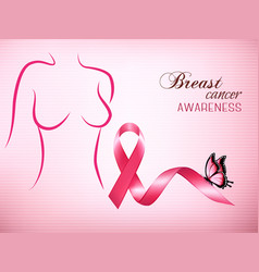 female body outline with a pink ribbon and a vector image