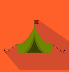 flat and cartoon tent with flag hunting season vector image