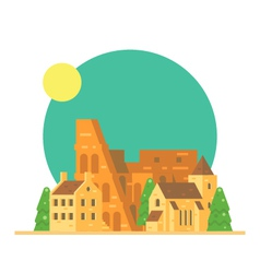 flat design colloseum italy with village vector image