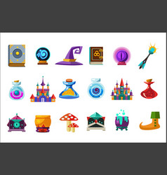 Flat set of fabulous items for mobile game vector