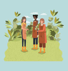 girls planting trees in the park vector image