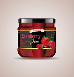 glass jar mockup raspberry package design vector image