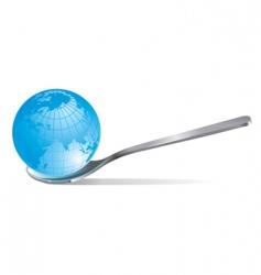 globe in a tea spoon vector image vector image