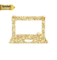 Gold glitter icon of notebook isolated on vector