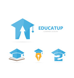 graduate hat and arrow up logo vector image
