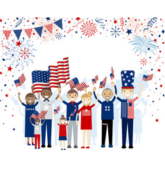 group of people holding american flag vector image