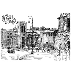 Hand drawing rome italy famous cityscape vector