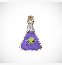 Hand drawn colorful halloween witch poison or vector
