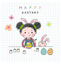 hand drawn of a little girl painting easter eggs vector image