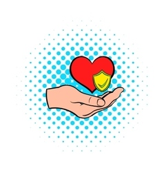 Hand holding red heart icon comics style vector