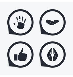 Hand icons Like thumb up and insurance symbols vector
