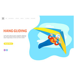hang gliding hobglider person website with text vector image