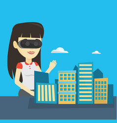 Happy young woman wearing virtual reality headset vector