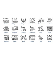 home rooms line icons living room bedroom kitchen vector image