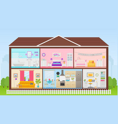 House inside with rooms interiors in flat design vector