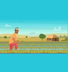 Indian agriculture working farmer harvesting vector