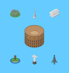 isometric attraction set of paris coliseum rio vector image
