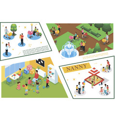 isometric children care composition vector image