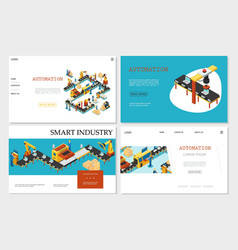 isometric smart industry websites collection vector image