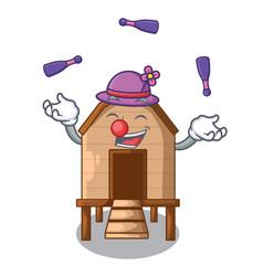 Juggling chicken in a wooden cartoon coop vector