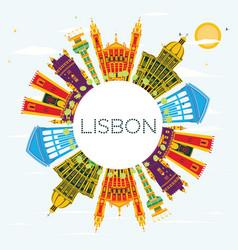 Lisbon portugal city skyline with color buildings vector