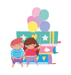 little chubby couple with balloons helium and vector image