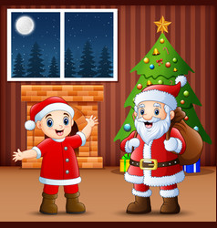 living room decoration for christmas and new year vector image
