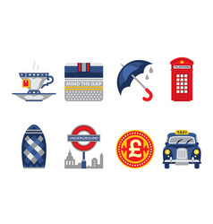 London symbols set england elements tea cup vector