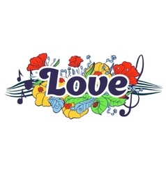 Love typography lettering with flower elements vector