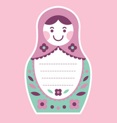 Matryoshka russian nesting doll greeting card vector