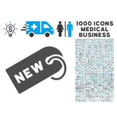 New Tag Icon with 1000 Medical Business Symbols vector