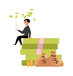 office worker sitting on bundle of money vector image