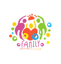 Original logo design with happy family and big vector