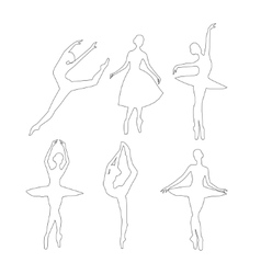 Outline Ballerinas set vector image