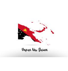 papua new guinea country flag inside map contour vector image