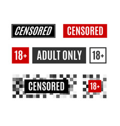 pixel censored sign different types set vector image