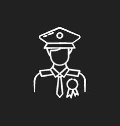 Police officer chalk white icon on black vector