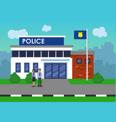 Policemen on the background of the police station vector