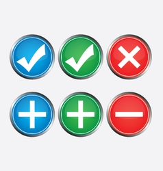 Positive and negative buttons vector