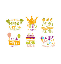 Premium menu for kids labels set organic food for vector